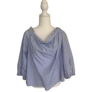 J.Crew blue & white off shoulder blouse XXL